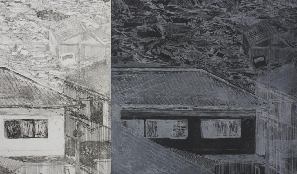 tsunami, etching 2012