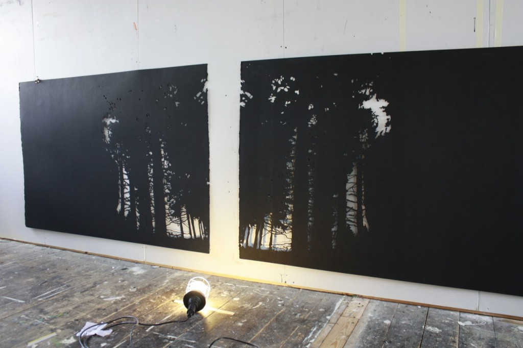 Cut black somerset paper 300 cm x 100cm 2012 Unframed £1,800
