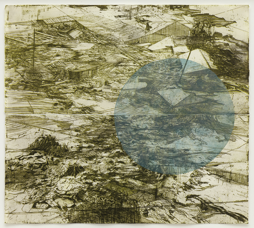 200,000 Double Etching in yellow and white with cine colle circle 2012 Framed £700 unframed £550 ed 10 ( variable )