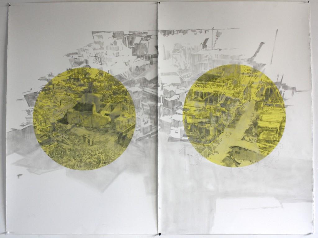 cardboard city diptych 2015 71 x 150 cm