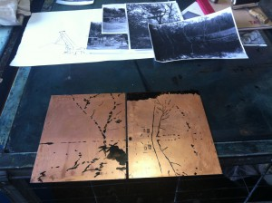 copper plates blocking out ready to aquatint